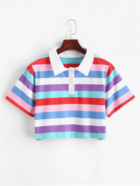 fashion Rainbow Striped Half Button Crop Tee - MULTI-A S