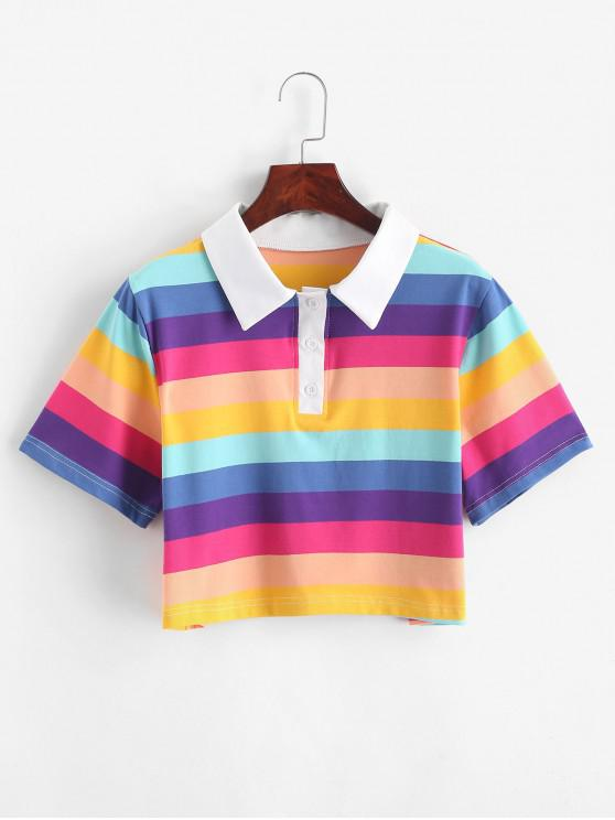 affordable Rainbow Striped Half Button Crop Tee - MULTI-B M