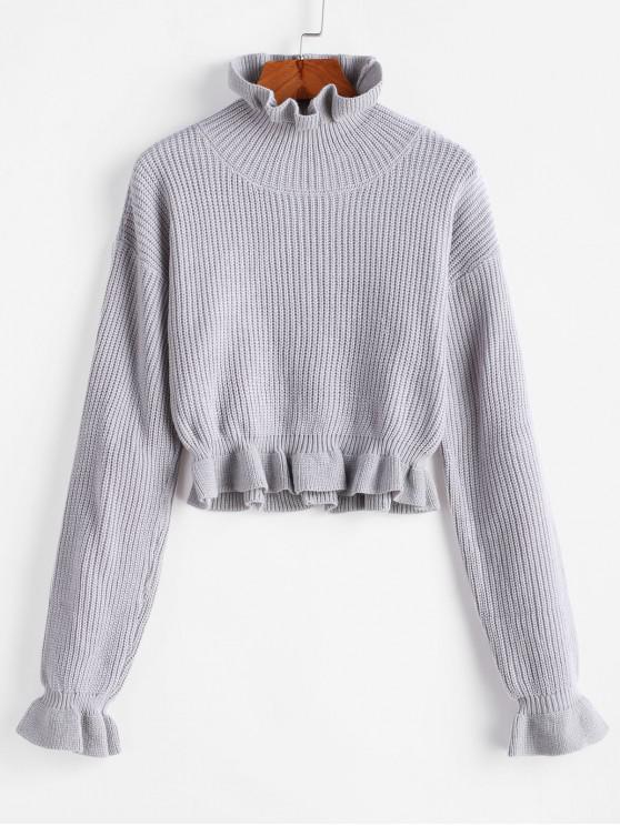 women Solid Ruffled Pullover Sweater - PLATINUM M