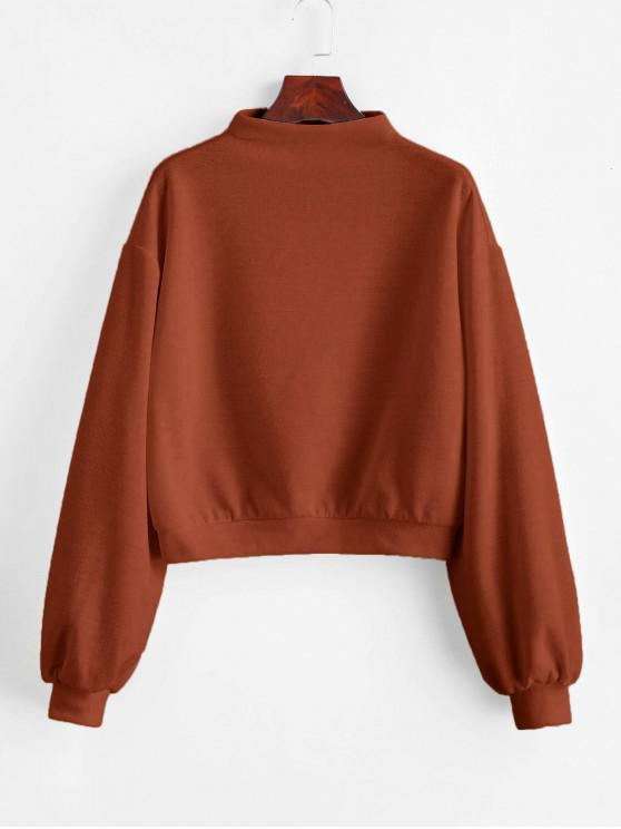 ladies ZAFUL Pullover Mock Neck Plain Sweatshirt - LIGHT BROWN S