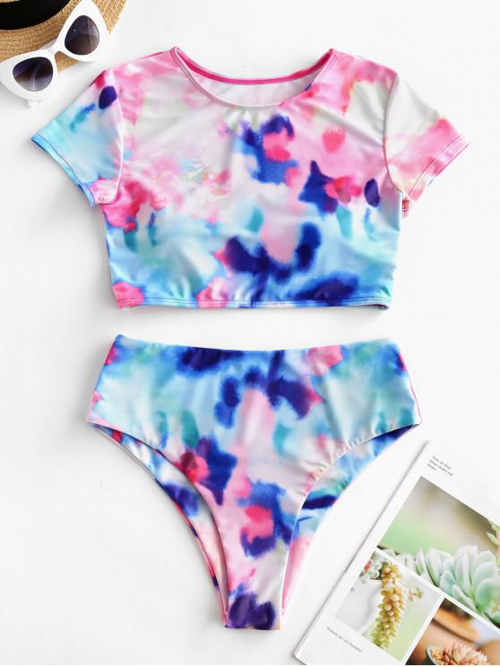 new ZAFUL Colorful Tie Dye High Cut Two Piece Swimsuit - MULTI-A L