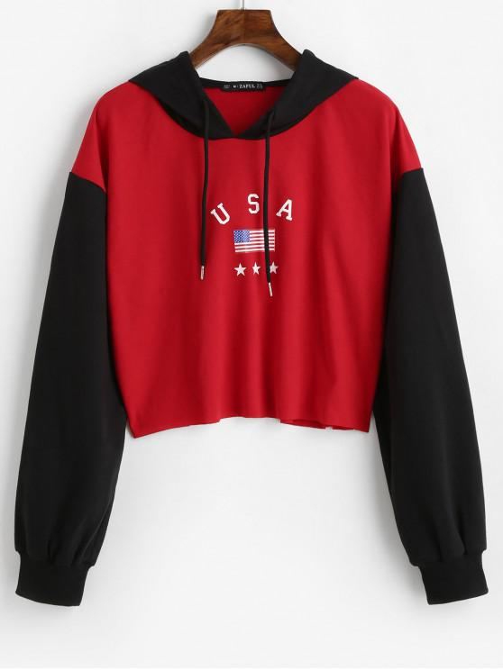 ladies ZAFUL American Flag Graphic Cropped Hoodie - RED M