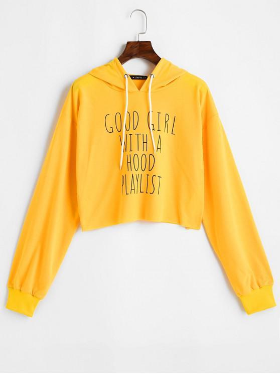 Sudadera con capucha y cremallera ZAFUL Good Girl With A Hood Playlist - Amarillo Brillante S