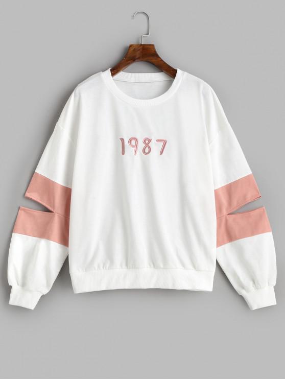 ZAFUL Sweatshirt Découpé 1987 Brodé - Blanc L