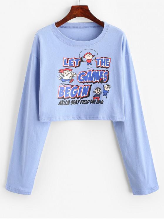 Sudadera estampada con eslogan de dibujos animados recortada - Azul Talla única