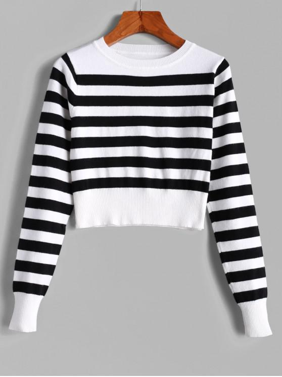 womens Pullover Stripes Crew Neck Cropped Sweater - MULTI M