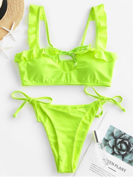 ladies ZAFUL Neon Tie Ruffled Cutout String Bikini Swimsuit - GREEN YELLOW M
