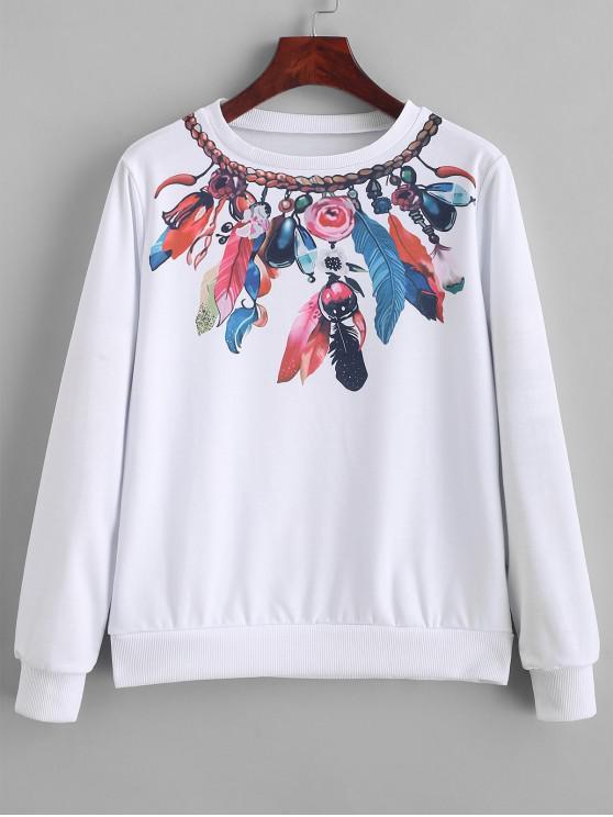 ladies Floral Feather Graphic Crew Neck Sweatshirt - WHITE L