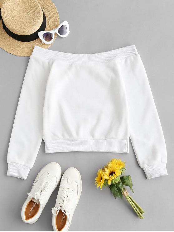 outfits Plain Pullover Off Shoulder Sweatshirt - WHITE L
