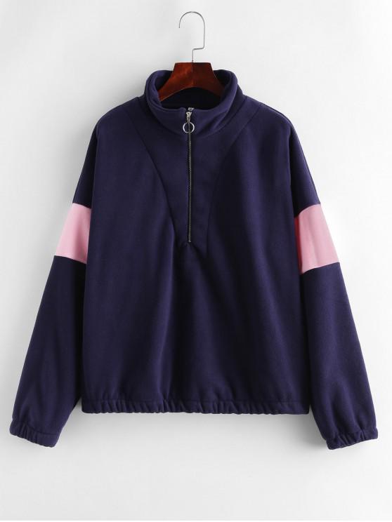 Sweat-shirt Bicolore Zippé Bicolore à Goutte Epaule en Laine - Cadetblue M