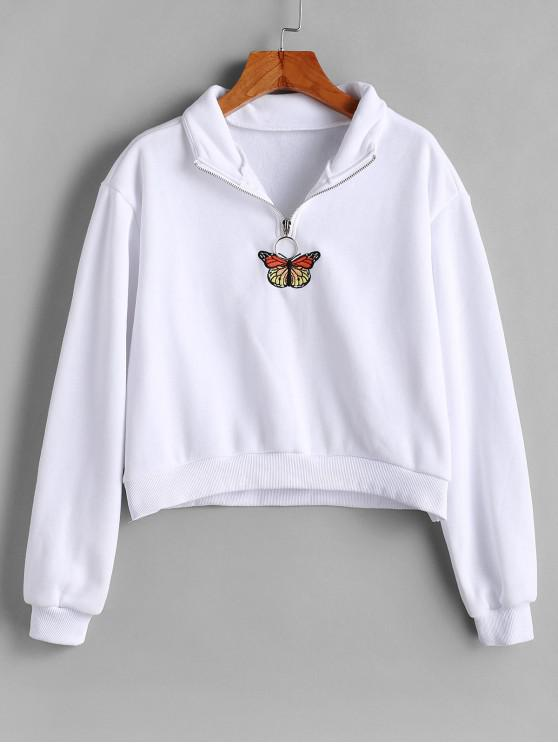 hot Half Zip Butterfly Embroidered Pullover Sweatshirt - WHITE L