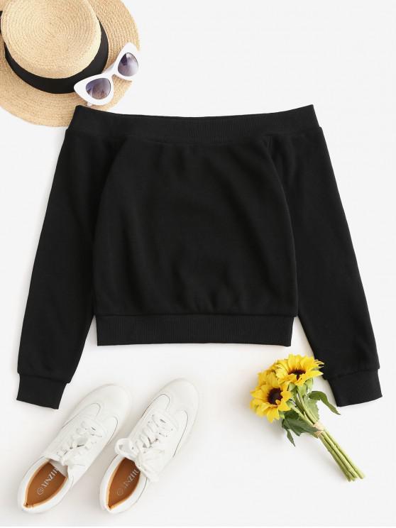 womens Plain Pullover Off Shoulder Sweatshirt - BLACK M