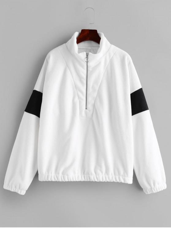 Двухцветная Толстовка Кольцо Молния Плечо падения - Белый XL
