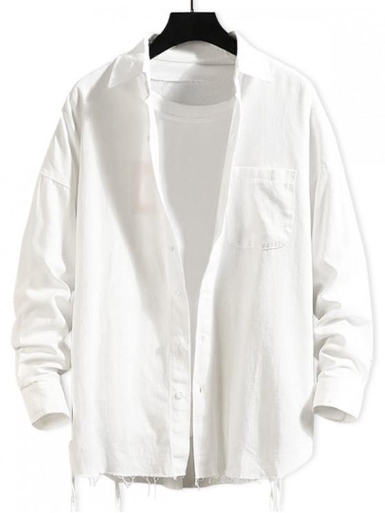 online Solid Color Chest Pocket Fringe-trim Drop Shoulder Shirt - WHITE XL