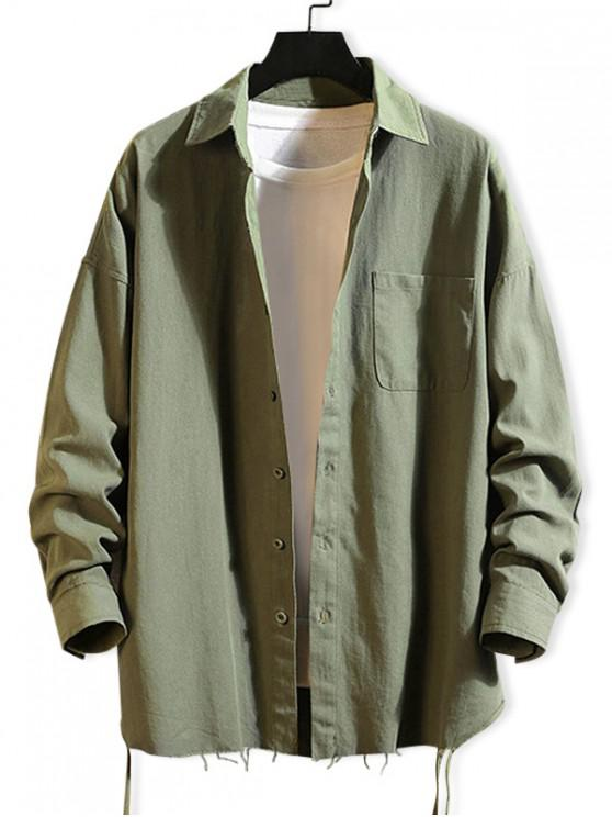 latest Solid Color Chest Pocket Fringe-trim Drop Shoulder Shirt - ARMY GREEN XL