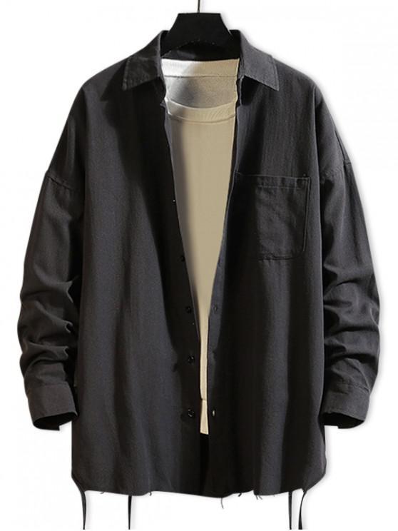 buy Solid Color Chest Pocket Fringe-trim Drop Shoulder Shirt - BLACK M