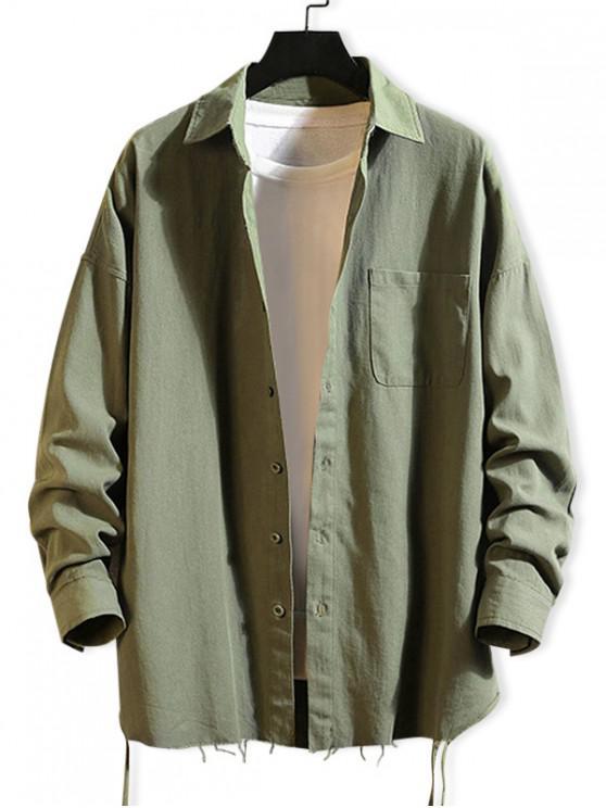 online Solid Color Chest Pocket Fringe-trim Drop Shoulder Shirt - ARMY GREEN L