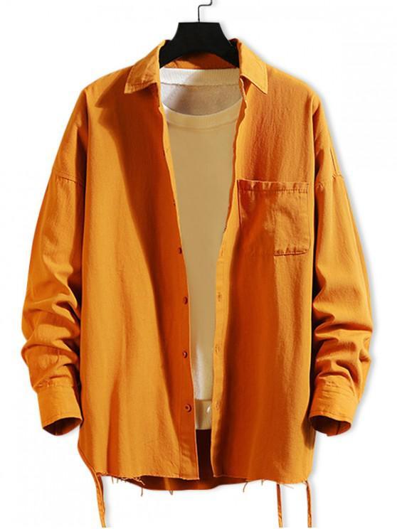 buy Solid Color Chest Pocket Fringe-trim Drop Shoulder Shirt - TIGER ORANGE M