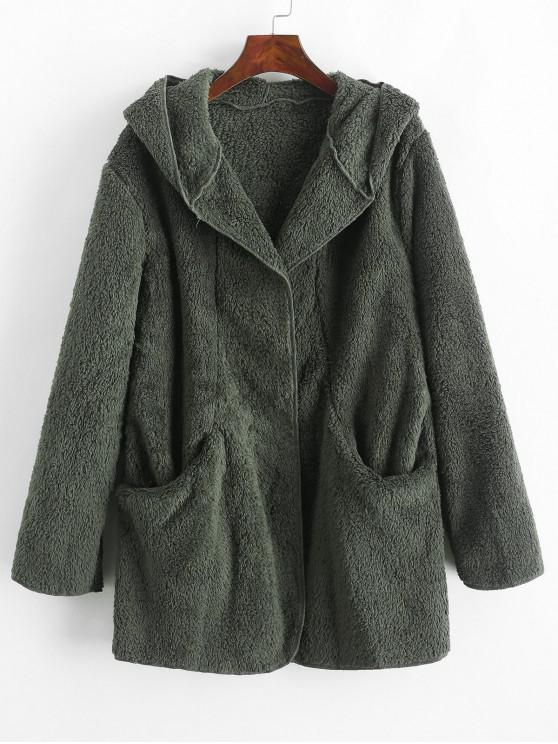 women's Solid Color Pockets Hooded Teddy Coat - GREEN XL
