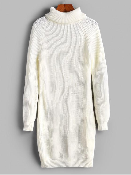 shop Turtleneck Raglan Sleeve Bodycon Sweater Dress - WHITE L