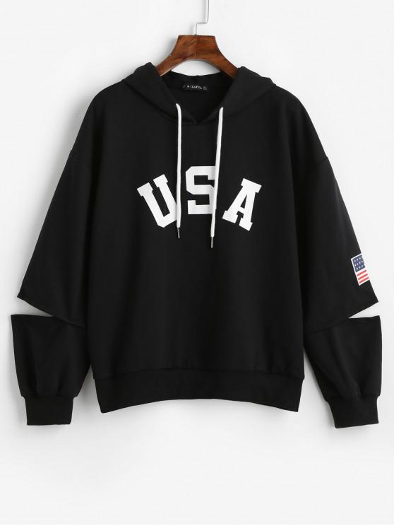 unique ZAFUL American Flag Graphic Cut Out Hoodie - BLACK M