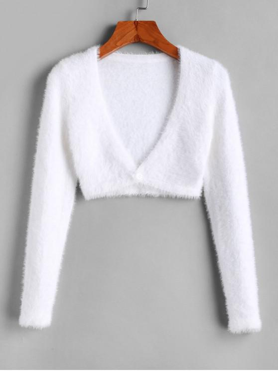 shop Cropped Fuzzy One Buttoned Cardigan - WHITE S
