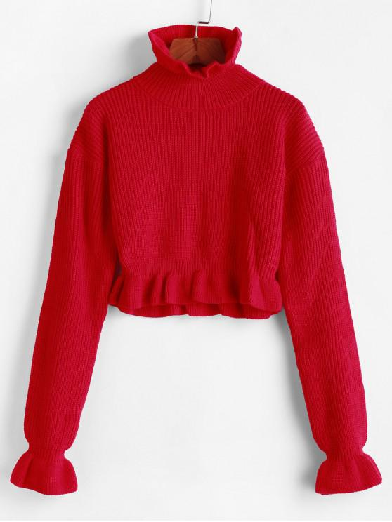 latest Solid Ruffled Pullover Sweater - RED S