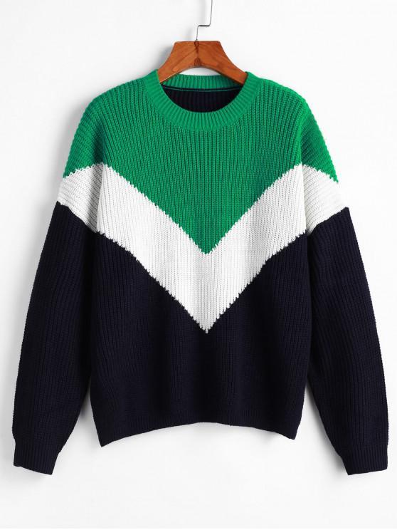 Caída del hombro del cuello barco del bloque del color del suéter - Multicolor M