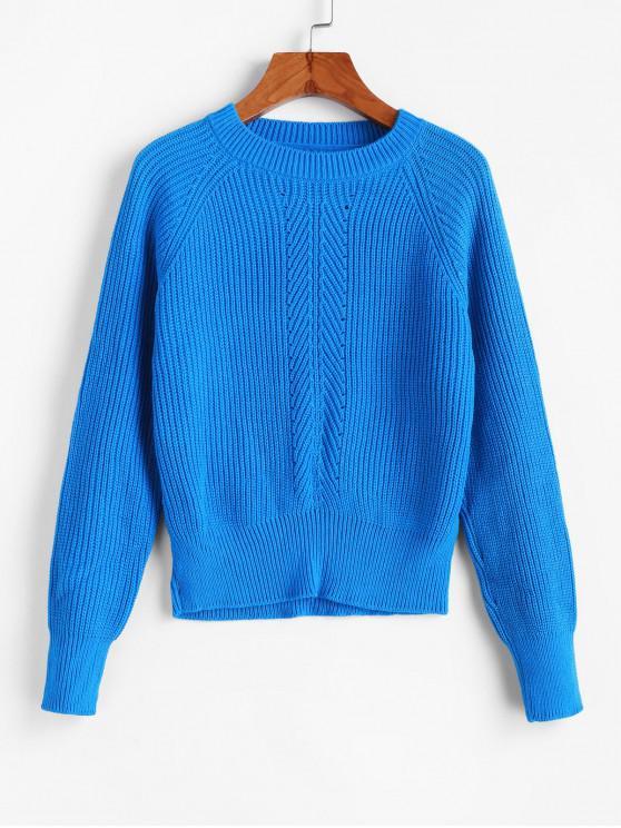 Llanura del raglán del equipo de la manga del suéter de cuello jersey - Azul M