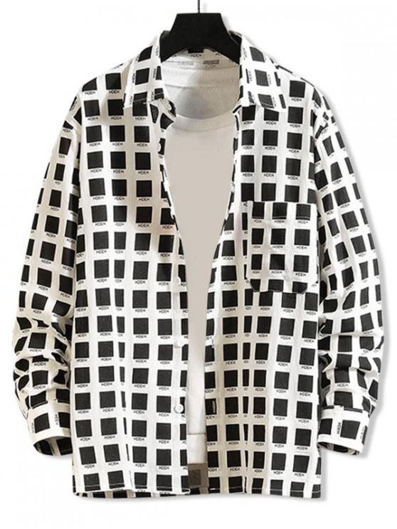 ladies Color Block Geometric Letter Graphic Chest Pocket Shirt - WHITE 2XL