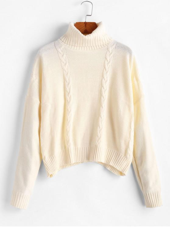 women Drop Shoulder Turtleneck Cable Knit Sweater - WARM WHITE L