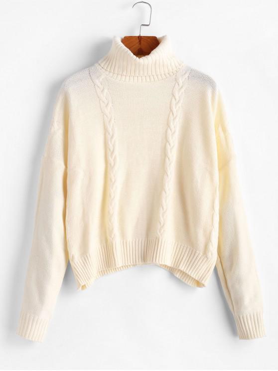 Caída del hombro del cuello alto suéter de tejido en cable - Blanco Cálido S