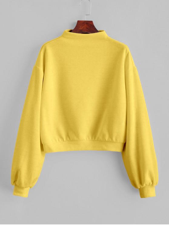 lady ZAFUL Pullover Mock Neck Plain Sweatshirt - GOLDENROD M