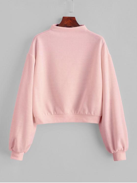 unique ZAFUL Pullover Mock Neck Plain Sweatshirt - ROSE M