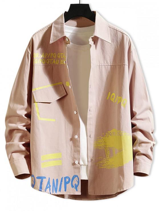 shop Letter Painting Print Faux Pocket Long Sleeve Shirt - LIGHT PINK M