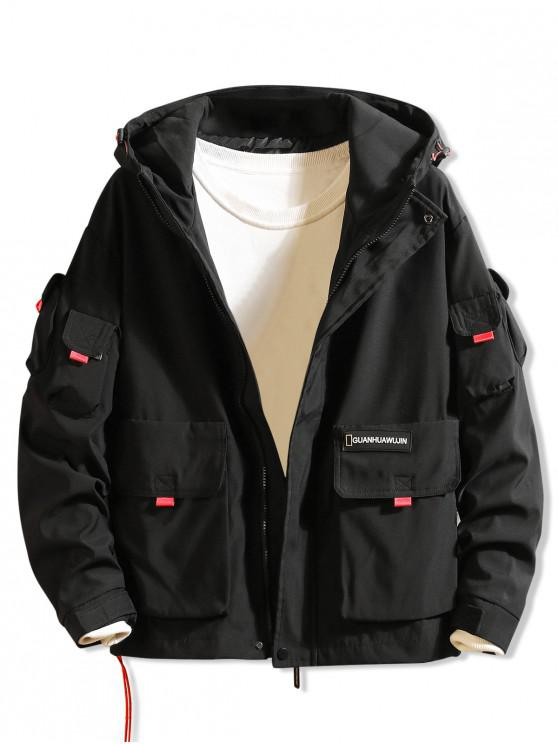 trendy Letter Print Applique Flap Pocket Hooded Jacket - BLACK 3XL