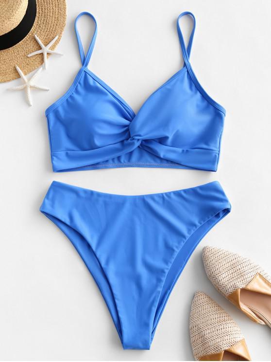 ladies ZAFUL Plain Twisted High Cut Tankini Swimsuit - DODGER BLUE L