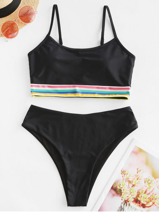 hot ZAFUL Rainbow Stripe Panel High Cut Tankini Swimsuit - BLACK M
