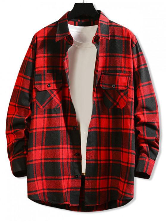 women Chest Pocket Plaid High Low Button Shirt - RED 3XL