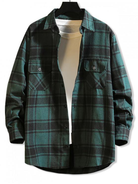 ladies Chest Pocket Plaid High Low Button Shirt - GREEN 4XL