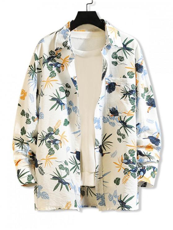 trendy Tropical Plant Parrot Print Pocket Beach Vacation Shirt - WHITE L