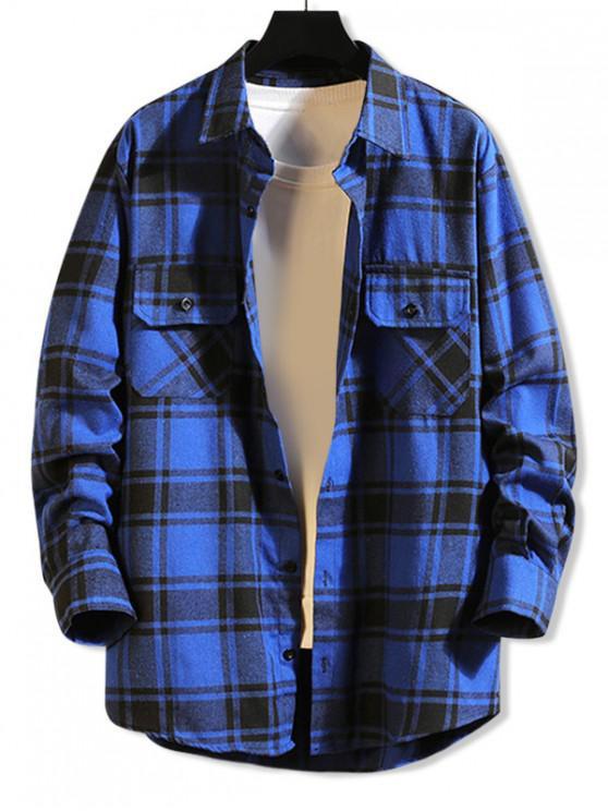 outfit Chest Pocket Plaid High Low Button Shirt - BLUE M