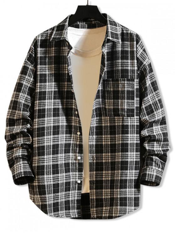 chic Curved Hem Plaid Print Pocket Long Sleeve Button Shirt - BLACK M