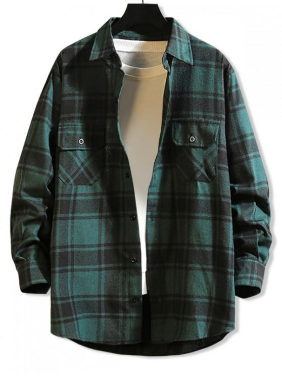 sale Chest Pocket Plaid High Low Button Shirt - GREEN L
