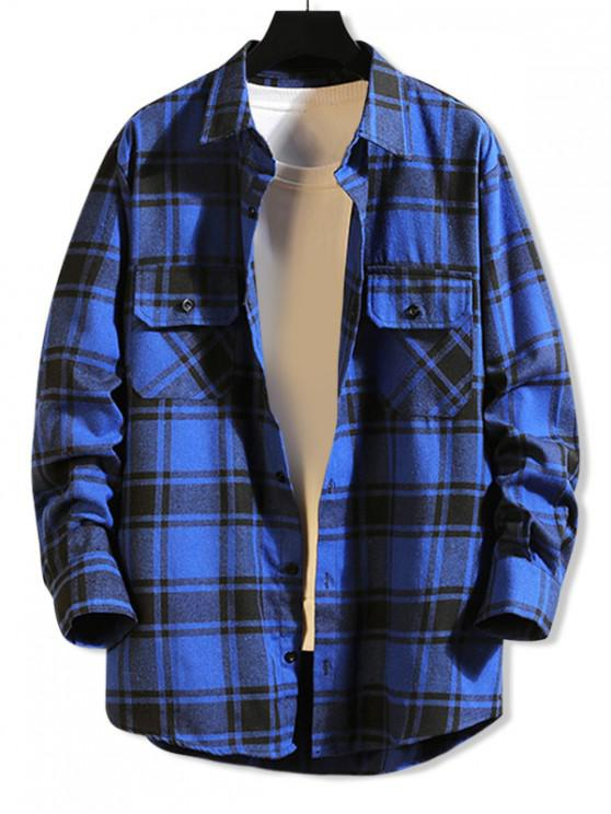 ladies Chest Pocket Plaid High Low Button Shirt - BLUE 2XL