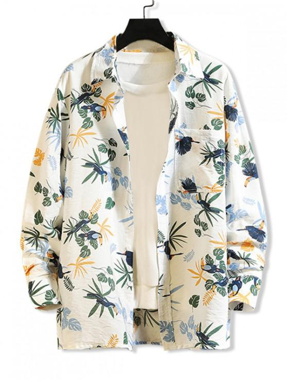 online Tropical Plant Parrot Print Pocket Beach Vacation Shirt - WHITE M