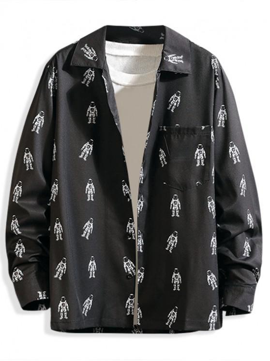 unique Astronaut Pattern Print Pocket Long Sleeve Button Shirt - BLACK M