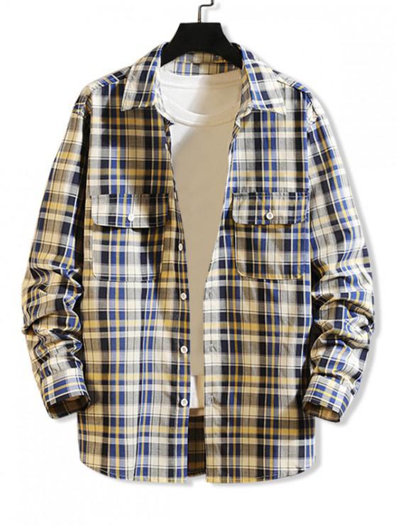 women Plaid Print Chest Pocket Long Sleeve Button Up Shirt - BLUE IVY M