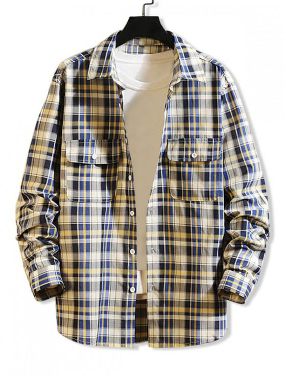 buy Plaid Print Chest Pocket Long Sleeve Button Up Shirt - BLUE IVY L