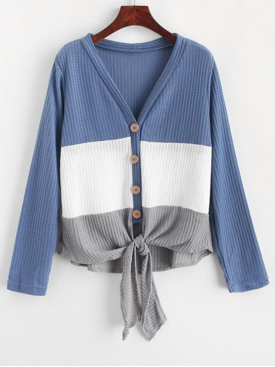 outfit Button Up Color Block Knotted Cardigan - MULTI-C XL